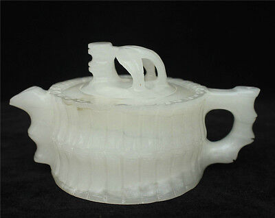 """6.2"""" Chinese 100% White Jade Jadeite Master Carved Bamboo Leaf Statue Teapot Pot"""