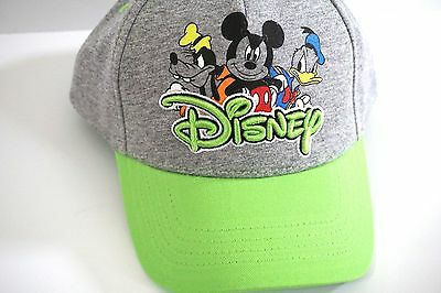 Disney Mickey Mouse Donald Duck Goofy Grey Green Youth Boys Boy Hat Cap