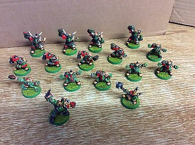 Blood Bowl - metal 3rd edition Orc team + 2 Star Players, painted