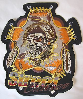 Large Colour Street Cruiser Bike Motorcycle Biker Embroidered Sew On Badge Patch