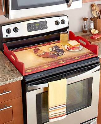 Wooden Stove Top Cover W/Handles Primitive Kitchen Serving Tray Rooster Design