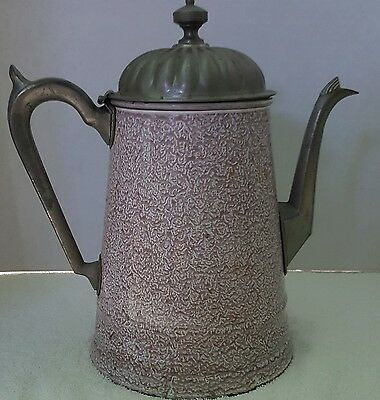 Graniteware Enamelware Pink Relish With Metal Mounts Teapot