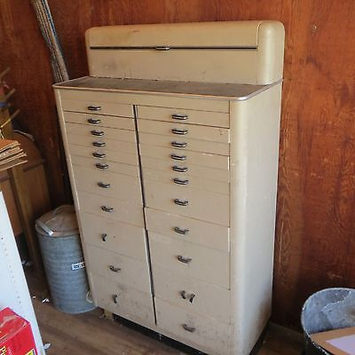 Vintage Art Deco Metal/Wood Dental Cabinet from the 1950-1960's PICK UP ONLY!