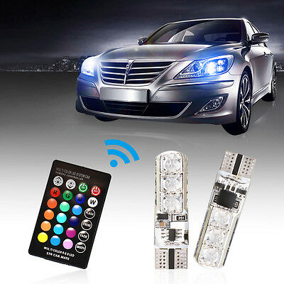 2x Multi Color T10 SMD RGBW LED Car Dome Reading Light Lamp Bulb + Remote LD1021