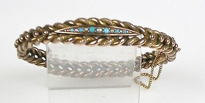 Antique Victorian 14K Rose Gold Braided Bangle Bracelet Turquoise Pearl EB0026