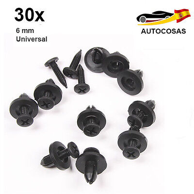 30 Clips Remaches Rivets Rivetti Plásticos Negro 6mm Car Auto Universal