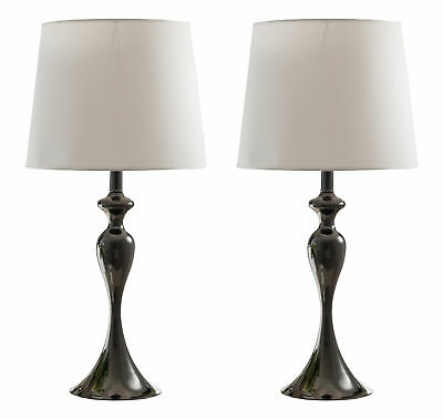 "Kings Brand 27""H Gun Finish Metal / White Fabric Shade Table Lamps, Set of 2"