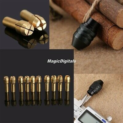 10pcs Brass Collet Chuck 0.5mm-3.2mm &M8 Long Tail Keyless Chuck Rotary Tool Kit