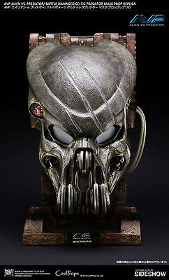 Sideshow Alien Vs Predator Battle Damaged Celtic Mask Bust Statue Coolprops Rare