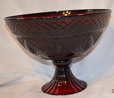 Ruby Red Arcoroc Footed Fruit Bowl France Pedestal Serving
