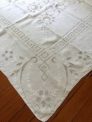 "Vintage 100% Linen Tablecloth Delicate Embroidery Cutwork  ""65 x 82"" White"