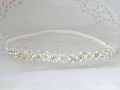Rhinestone baby headband for christening, white skinny pearl headband handmade