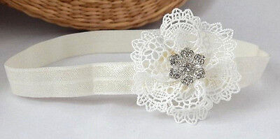 Christening ivory Baby flower headband for Baptism flower girl lace hair band UK