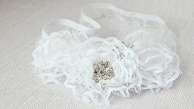 Handmade baby headband for christening, baptism, three lace flowers hair band