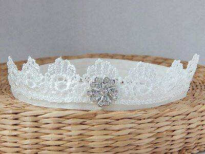 Lace headband, off white baby hair band, baptism, wedding, christening tiara