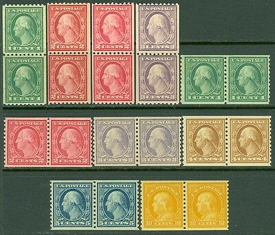 EDW1949SELL : USA 1916-22 Sc #486-90, 492, 494-97 Rotary Coil pairs MNH Cat $359