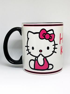 Custom Made Hello Kitty Black Handle and Rim Coffee Mug with your name