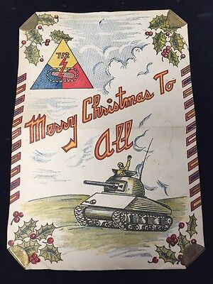 Vintage Christmas Greetings for a Soldier World War 2 Era Card Tank Rifle