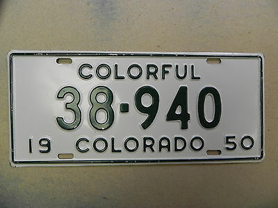 1950 Green on White Colorado License Plate Quality plate 38-940