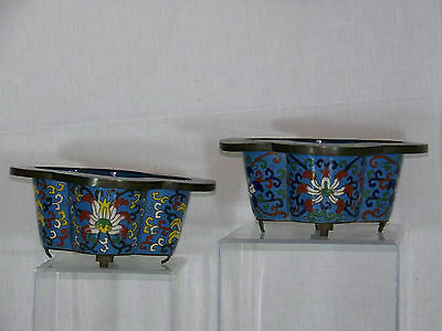 Penjing Bonsai Chinese Qing Dy Blue Imperial Cloisonne Pair of Planter Stands