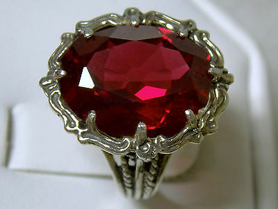 12ct red Ruby filigree antique 925 sterling silver ring size 7 USA