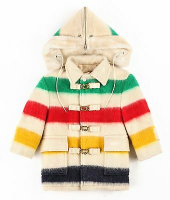 Vtg HUDSONS BAY c.1950s Children's Multicolor Stripe Wool Blanket Coat Sz 4 RARE