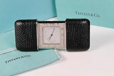 Tiffany & Co. Atlas Travel Alarm Clock Leather Slide Cover Excellent Condition