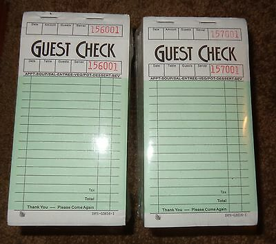 2 Unopened Packs Of Guest Checks Waitress Receipt Books Order Forms 20 Pads
