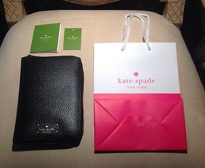 NEW Kate Spade Black Wellesley 2017 Zip Around Personal Organizer Planner Agenda