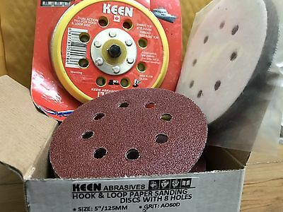 "Choice of Grit, Keen 5"" x 8 Holes H&L Sanding Disc Red Kit, 74180 (302/Pack)"