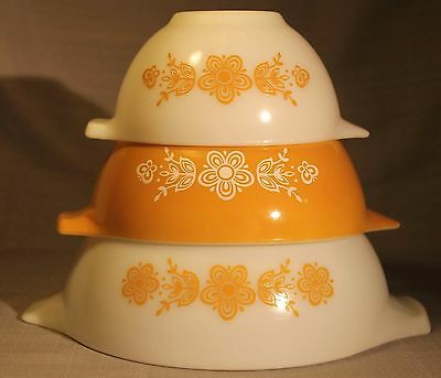 Vintage Pyrex Butterfly Gold Set 441 442 443 Vintage Mixing Nesting Bowls Lot +