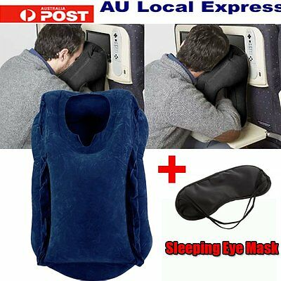 Inflatable Air Travel Pillow Filled Airplane Cushion Neck Comfortable Support
