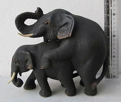 Realistic Golden Teak Wood Mating Elephants Somsak Meewan
