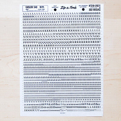 1 Sheet CASLON 540, 18pt Letraset L166 Rub on Lettering Dry Transfers Letters