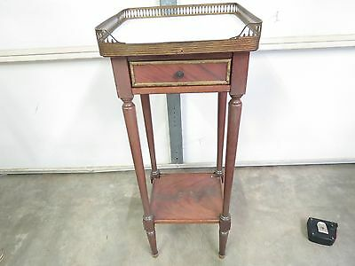Antique Vintage Marble Top Nightstand or End Table One Drawer Brass Side Table