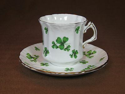 Hammersley Bone China Shamrock Cup and Saucer Green Shamrocks Gold Trim