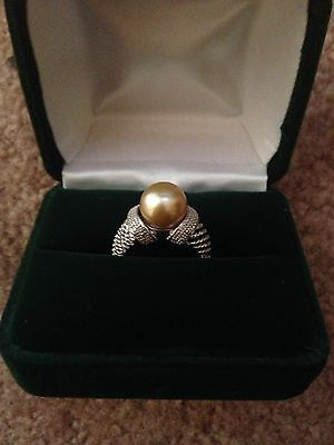 South Sea Golden Pearl Sterling Silver .925 Ring Size 5