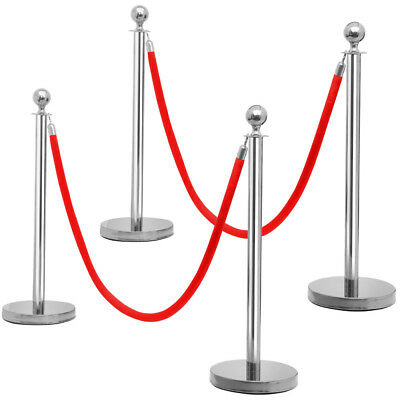2/4/6/8 pcs Top Stainless Steel Stanchion Crowd Control Posts 6.5ft Red Barrier