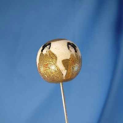 ANTIQUE Stunning, Large Satsuma BALL with 6 Geisha, GREAT! Hatpin Hat Pin