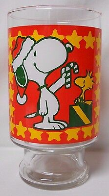 VINTAGE! 1990's Peanuts Oversized Footed Glass-Santa Snoopy & Holiday Woodstock