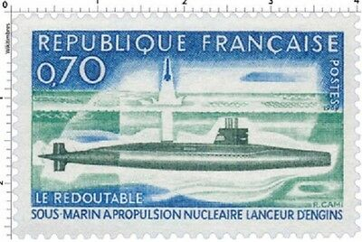 Timbre Stamp Neuf France TTB Sous-marin Le Redoutable 1969 N°1615