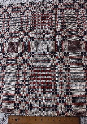 Lovely Antique Early American Hand Woven Cotton/Linen Coverlet Piece c1840-1850