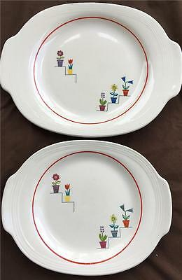 2 American Limoges Triumph Handled Oval Platters-Posey Shop Viktor Schreckengost