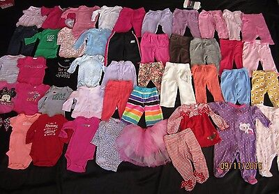 HUGE LOT Baby GIRL 44 pcs 0 3 6 Fall winter clothes Carters sleepers pants b2