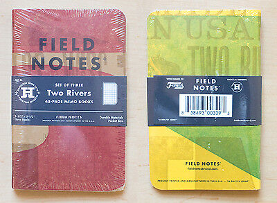 FIELD NOTES Two Rivers, Spring 2015 - 3 Sealed Notebooks Letterpress Wood Type E