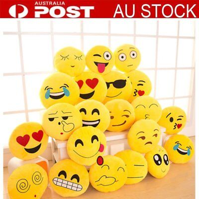 "13""Yellow Round IPshion Emoji Emoticon Stuffed Soft Smiley Pillow Plush Doll Toy"