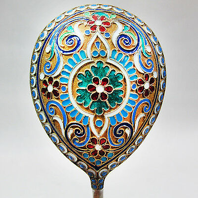Amazing Large Russian 84 Silver Enamel Serving Spoon, Bma