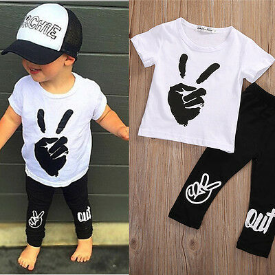 Toddler Infant Kids Baby Boy Outfits Clothes Summer Tee Tops+Long Pants 0-24M