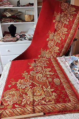 Antique French Xmas Crimson Red Partial Woven Jacquard Coverlet/Throw c1880