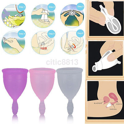 Silicone Menstrual Cup Womens Period 100% Medical Soft Reusable Hygiene 3 Colors